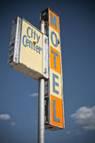 Old Motel Sign. An old, damaged motel sign in uptown Butte, Montana Stock Images