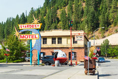 Old Motel in Wallace, Idaho. WALLACE, ID - AUGUST 20: Stardust Motel sign in historic mining town of Wallace, ID on August 20, 2015 Stock Photography