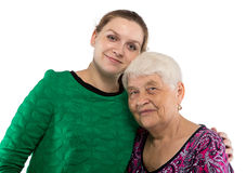 Old  mother and pregnant woman Royalty Free Stock Photography