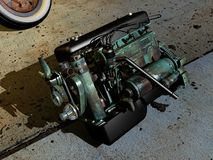 Old motor  car. A broken old motor car in the ground Royalty Free Stock Photography