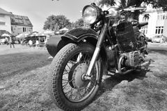 Classic motorbike with a sidecar Stock Images