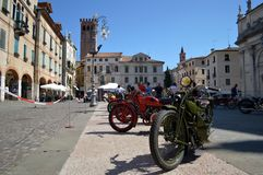 Old motorbikes in Bassano del Grappa royalty free stock photos