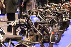 Old motorbikes in row. Exhibition of mototechnics in Expoforum. Saint-Petersburg, Russia Stock Photo