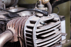 Old motorcycle engine closeup fragment Royalty Free Stock Photos