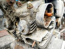 Old motorcycle engine condition is unavailable. Royalty Free Stock Photography