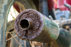 Old motorcycle exhaust pipe. Dirty Stock Photography