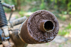 Old motorcycle exhaust pipe. Dirty Stock Photos