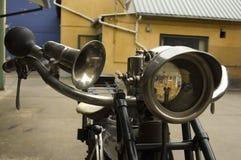 Old motorcycle headlight. Nimbus stoverpipe Denmark Stock Photo
