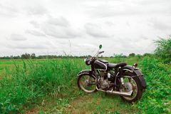 Old Motorcycle in Meadow Royalty Free Stock Photography