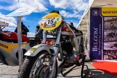 Old motorcycle in montjuic spirit Barcelona circuit car show.  stock image
