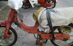 Old motorcycle. Old red motorcycle in old town songkhla thailand Royalty Free Stock Photos