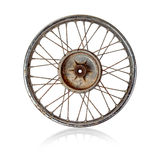 Old motorcycle rim over white Stock Images