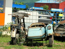 Old motorcycle with sidecar. Picture taken in Valea Seaca, near Bacau,Romania Royalty Free Stock Photography