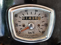Old motorcycle speed meter Stock Photo