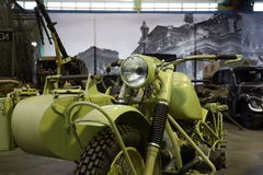 Old motorcycle with stroller and machine gun closeup Stock Photos