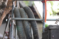 Old motorcycle tires Royalty Free Stock Image