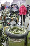 Old motorcycles in column. Back view Stock Photography