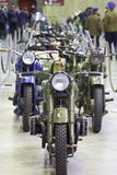 Old motorcycles in column Royalty Free Stock Photo