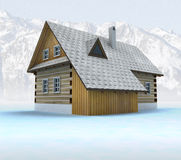 Old mountain cabin with blue sky Stock Photo