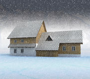 Old mountain cottage at night snowfall Royalty Free Stock Photos