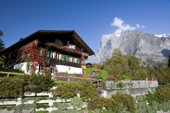Old mountain farmhouse in Grindelwald stock photo
