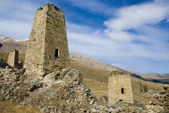 Old mountain fortress. Old mountain stone  fortress North Ossetia Royalty Free Stock Photo
