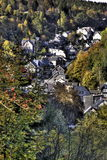 Old Mountain Homes. Old houses on a steep road in the mountains Royalty Free Stock Photography