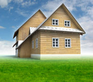 Old mountain hut with green grass and blue sky Royalty Free Stock Images