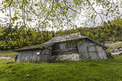Old mountain hut Stock Images