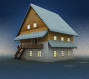 Old mountain hut and window lighting at night snowfall Royalty Free Stock Images