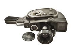 Old movie camera. With lens close up Royalty Free Stock Image
