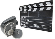 Old movie camera  and clapperboard Royalty Free Stock Images
