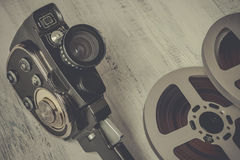 Old movie camera and film reel Royalty Free Stock Photos