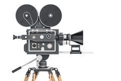Old movie camera, side view. 3D rendering Royalty Free Stock Image