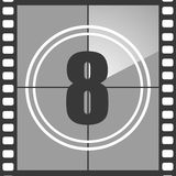 8 from old movie count down. Number 8 from old movie count down, eight. Film countdown number. Vector illustration EPS 10 Royalty Free Stock Images