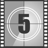 5 from old movie count down. Number 4 from old movie count down, five. Film countdown number. Vector illustration EPS 10 Royalty Free Stock Photo