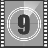9 from old movie count down. Number 9 from old movie count down, nine. Film countdown number. Vector illustration EPS 10 Stock Images