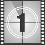1 from old movie count down. Number 1 from old movie count down one . Film countdown number. Vector illustration EPS 10 Royalty Free Stock Image