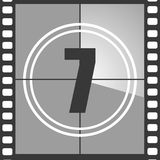 7 from old movie count down. Number 7 from old movie count down, seven. Film countdown number. Vector illustration EPS 10 Royalty Free Stock Photos