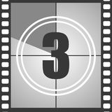 3 from old movie count down. Number 3 from old movie count down three . Film countdown number. Vector illustration EPS 10 Stock Photo