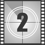 2 from old movie count down. Number 2 from old movie count down two . Film countdown number. Vector illustration EPS 10 Royalty Free Stock Photo