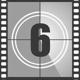 6 from old movie count down. Number 6 from old movie count down, six. Film countdown number. Vector illustration EPS 10 Royalty Free Stock Image