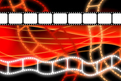 Old movie film reel strip. Old style theatre movie 35mm film dvd or reel strip over orange abstract and black background royalty free illustration