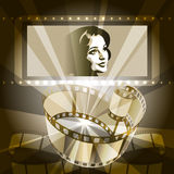 Old movie. Illustration with celluloid and female face on the screen against rays of cinema projector drawn in vintage style using sepia color scheme Stock Images