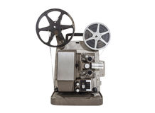 Old Movie Projector. With film reels isolated Stock Images