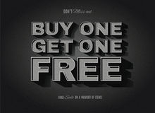 Old movie style BOGO, buy one get one free sign. Vintage movie or retro cinema text effect BOGO, buy one get one free ad vector illustration