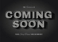 Old movie style Coming Soon Sign. Vintage movie or retro cinema text effect coming soon sign Stock Photo