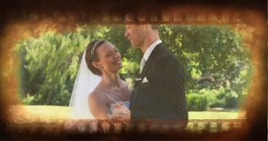 Old Movie tape video. Old Movie tape showing couple having wedding dance stock video footage