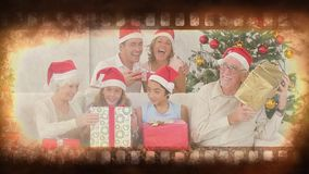 Old Movie tape video. Old movie tape showing happy family at christmas stock footage
