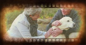 Old Movie tape video. Old Movie tape showing old people petting dog stock video footage